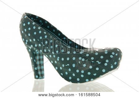 Green carton pump shoe isolated over white background
