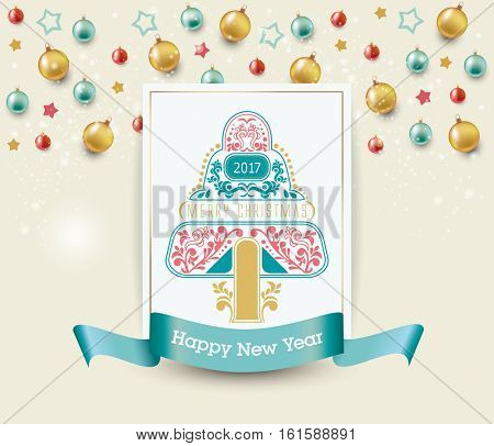 Christmas and Happy New Year. Christmas background. background with decorative tree