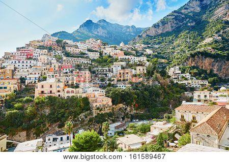 Scenic View Of Positano, Beautiful Mediterranean Village On Amalfi Coast, Italy