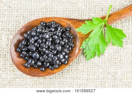 Black caviar on a white background clipping path