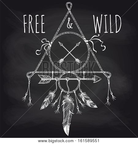 Native american accessory with feathers arrows and lettering free and wild on blackboard. Vector illustration