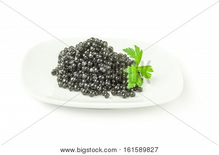 Beluga caviar on a white background clipping path