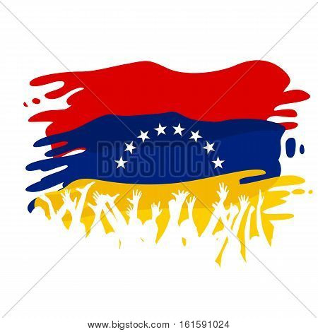 White silhouettes of people on the flag of Venezuela as a background