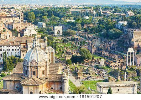 Aerial Scenic View Of Rome, Lazio, Italy