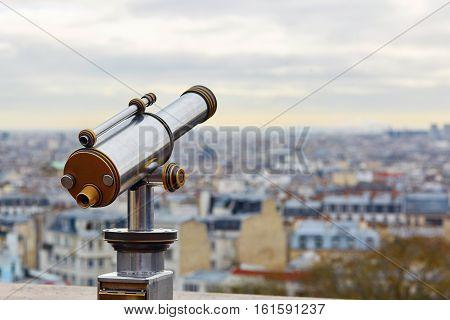 Touristic Telescope Overlooking Montmartre