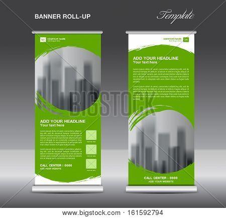 Green Roll up banner template vector, flyer, advertisement, x-banner, poster, pull up design