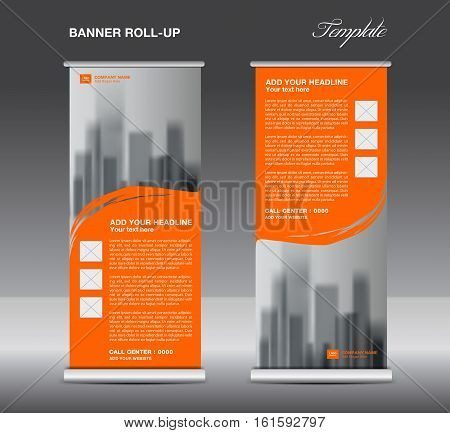 Orange Roll up banner template vector, flyer, advertisement, x-banner, poster, pull up design