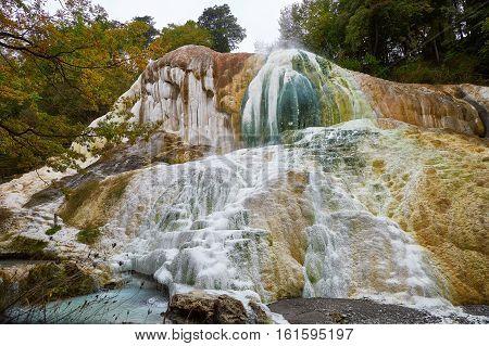 Hot Thermal Springs Of Bagni San Filipo In Tuscany, Italy