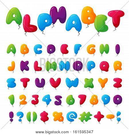English balloon colorful alphabet on white background