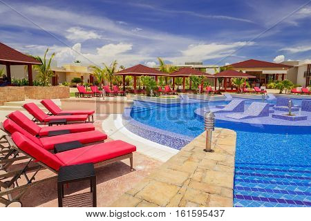 Cayo Coco island, Pullman hotel, Cuba, June 28, 2016, gorgeous amazing, tremendous view of Pullman hotel inviting cozy stylish swimming pool and grounds on sunny beautiful summer day
