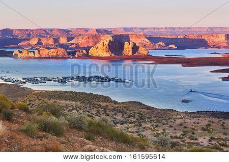 Lake Powell At Sunset, Arizona, Usa