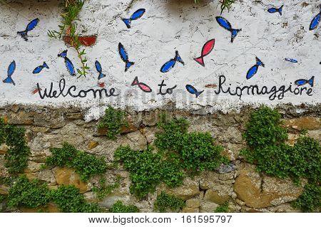 Welcome To Riomaggiore Sign In Cinque Terre