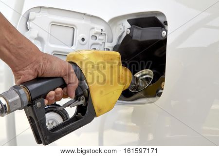 Car refueling on a petrol station, old, pump, gas, fuel, car,