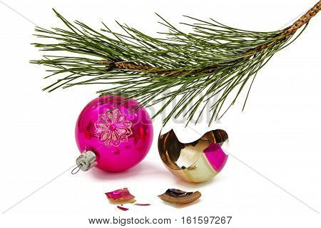 Broken Christmas ball lies beneath branch of the pine isolated on a white background