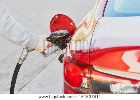 Pumping Gas At Gas Pump