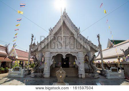 Nan North of Thailand - 09 Dec 2016: Ming Muang Temple (Center city Pillar) White church