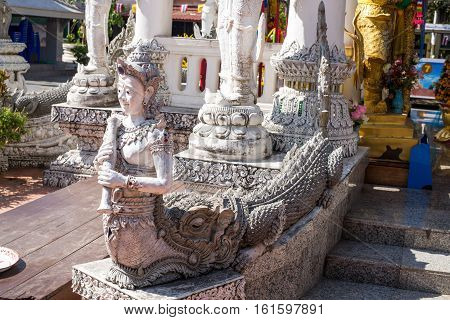 Nan North of Thailand - 09 Dec 2016: Ming Muang Temple (Center city Pillar) Serpent Statue