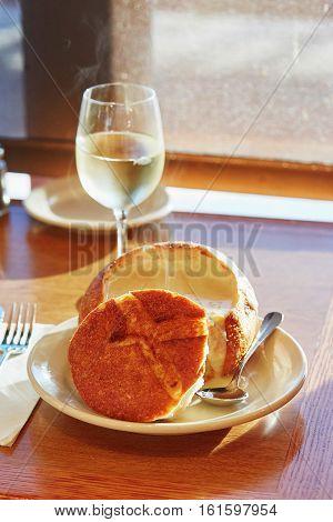 San Francisco Clam Chowder Served In A Bread Bowl