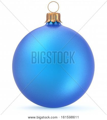 Christmas ball blue New Year's Eve decoration shiny wintertime hanging sphere adornment souvenir bauble. Traditional ornament happy winter holidays Merry Xmas symbol closeup. 3d illustration isolated