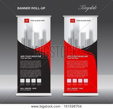 Red and black Roll up banner template vector, flyer advertisement, x-banner, poster, pull up design