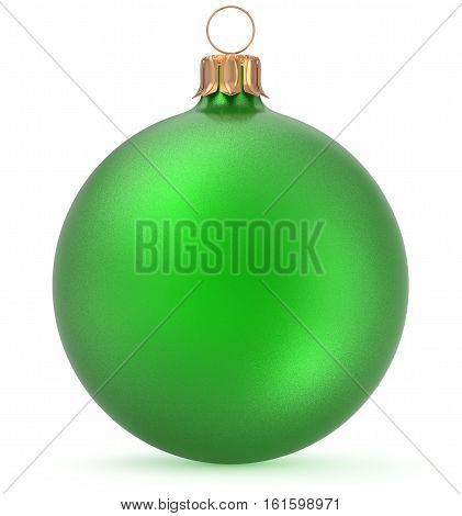 Christmas ball green New Year's Eve decoration shiny wintertime hanging sphere adornment souvenir bauble. Traditional ornament happy winter holidays Merry Xmas symbol closeup. 3d illustration isolated