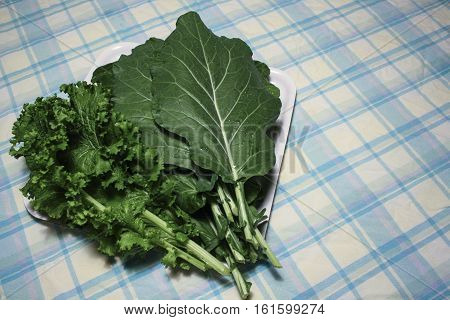 Image of Some Collard Greens on a Table