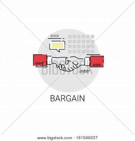 Bargain Hand Shake Agreement Icon Business Concept Vector Illustration