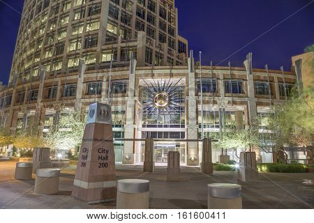 phoenix Arizona City Hall in Downtown photographed at night.