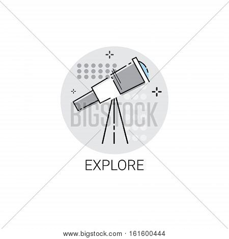 Explore Telescope Astronomy Science Icon Vector Illustration