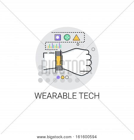 Wearable Tech Smart Wristband Trecker Technology Electronic Device Vector Illustration