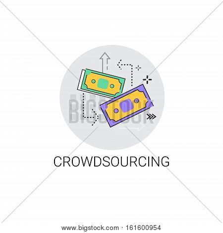 Crowdsourcing Business Resources Concept Icon Vector Illustration