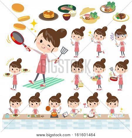Set of various poses of Ballet Bun hair Apron mom cooking