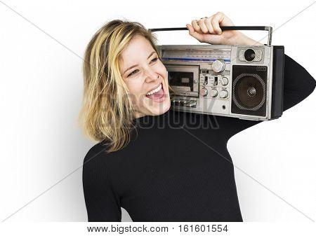 Female Holding Boom box Listen Music Concept