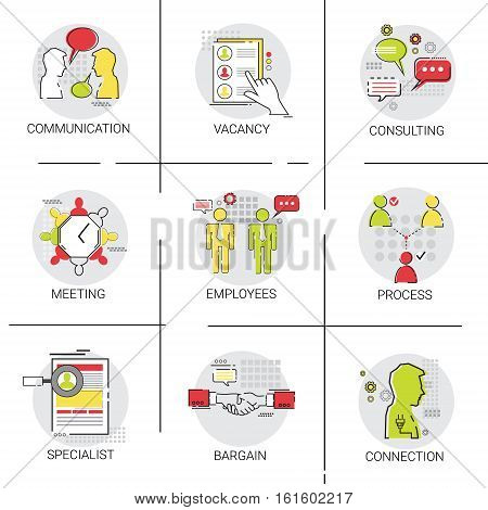 Business Team Meeting Brainstorm Process, Candidate Vacancy Consulting Communication Icon Set Vector Illustration
