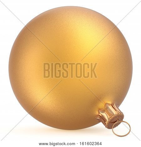 Christmas ball wintertime ornament golden New Year's Eve hanging shiny sphere decoration adornment bauble souvenir. Traditional happy winter holiday Merry Xmas symbol closeup. 3d illustration isolated