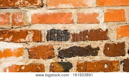 Wall of old red clay bricks in the cracks versatile texture for background or historical building