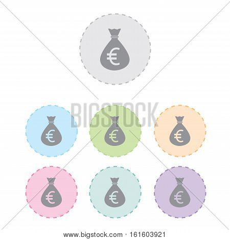 Money bag icon. euro currency button set. vector illustration