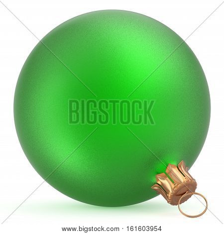 Christmas ball wintertime ornament green New Year's Eve hanging shiny sphere decoration adornment bauble souvenir. Traditional happy winter holidays Merry Xmas symbol closeup. 3d illustration isolated