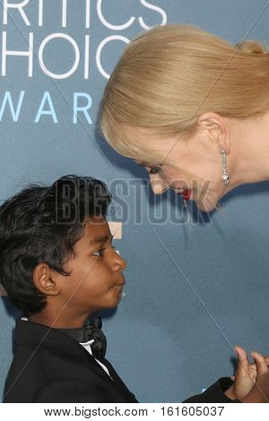 LOS ANGELES - DEC 11:  Sunny Pawar, Nicole Kidman at the 22nd Annual Critics' Choice Awards at Barker Hanger on December 11, 2016 in Santa Monica, CA