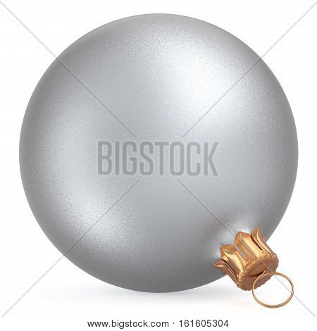 Christmas ball wintertime ornament silver white New Year's Eve hanging shiny sphere decoration adornment bauble. Traditional happy winter holiday Merry Xmas symbol closeup. 3d illustration isolated
