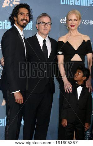 LOS ANGELES - DEC 11:  Dev Patel, Luke Davies, Sunny Pawar, Nicole Kidman at the 22nd Annual Critics' Choice Awards at Barker Hanger on December 11, 2016 in Santa Monica, CA