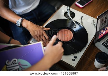 Turntable Vinyl Record DJ Scratch Music Entertainment Concept