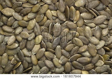 Closeup of a lot of pumpkin seeds