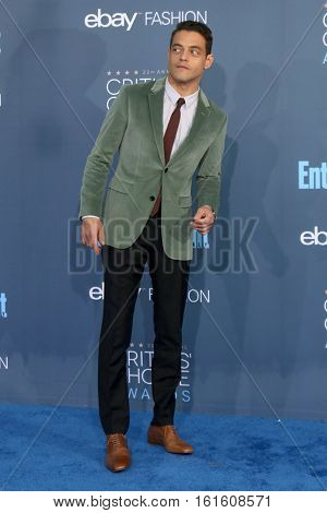 LOS ANGELES - DEC 11:  Rami Malek at the 22nd Annual Critics' Choice Awards at Barker Hanger on December 11, 2016 in Santa Monica, CA