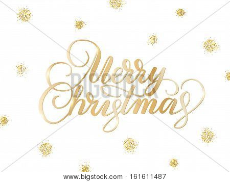 Merry christmas card with hand drawn lettering. Background with golden glitter dots decoration. EPS10 vector illustration.