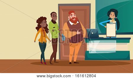 Mix Race Business People Group Reception Bar Modern Office Waiting Room Interior Flat Vector Illustration