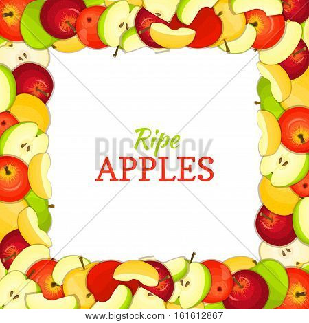 Square colored frame composed of delicious juicy apple fruit. Vector card illustration. Rectangle apples frame. Ripe fresh apple fruits appetizing looking for packaging design of juice breakfast food