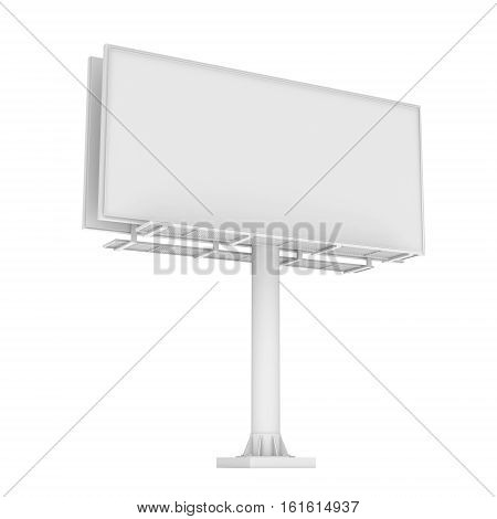 3d rendering of white blank billboard isolated on the white background. Marketing ways. Information source. City details.