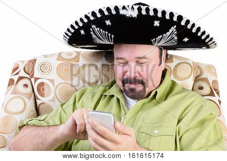Man In Sombrero Texting On Mobile