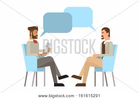 Mix Race Businessman Sitting Office Desk Apply Job Interview, Business People Candidate Flat Vector Illlustration